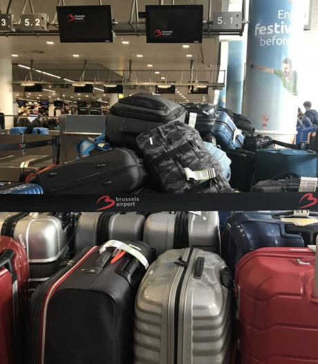 Chaos op Brussels Airport na storing in bagagebanden, koffers stapelen zich op