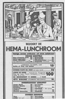 Advertentie voor de lunchroom (1932). Driegangendiner of -lunch voor 1 gulden.
