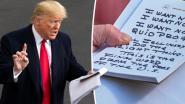 Grieks drama voor het Witte Huis: Trump leest handgeschreven notities in enorme lettergrootte voor