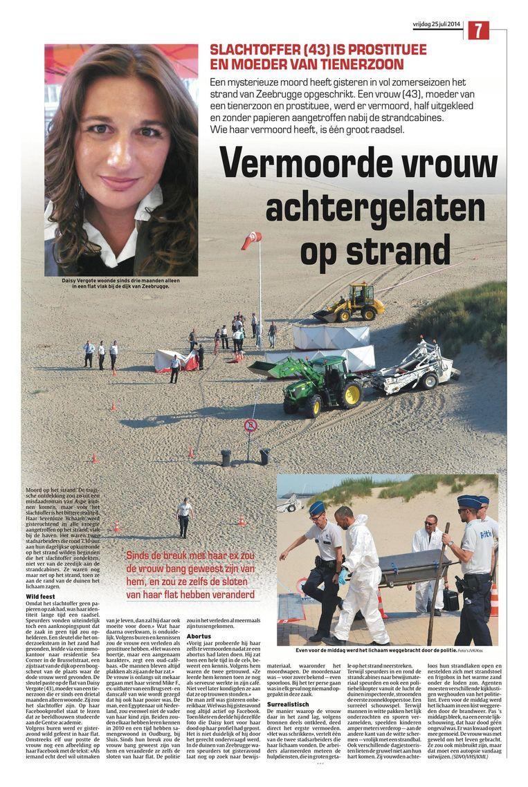 Het artikel na de moord. Daisy Vergote werd op 24 juli 2014 levenloos gevonden op het Zeebrugse strand.