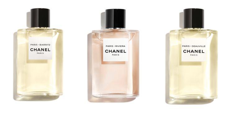 Van links naar rechts: Les Eaux de Chanel - Biarritz, Les Eaux de Chanel - Riviera, Les Eaux de Chanel - Deauville. Beeld
