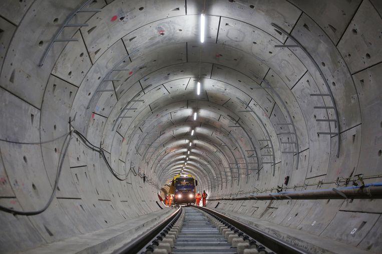 Werkzaamheden aan de Crossrail in Londen. Beeld Getty Images