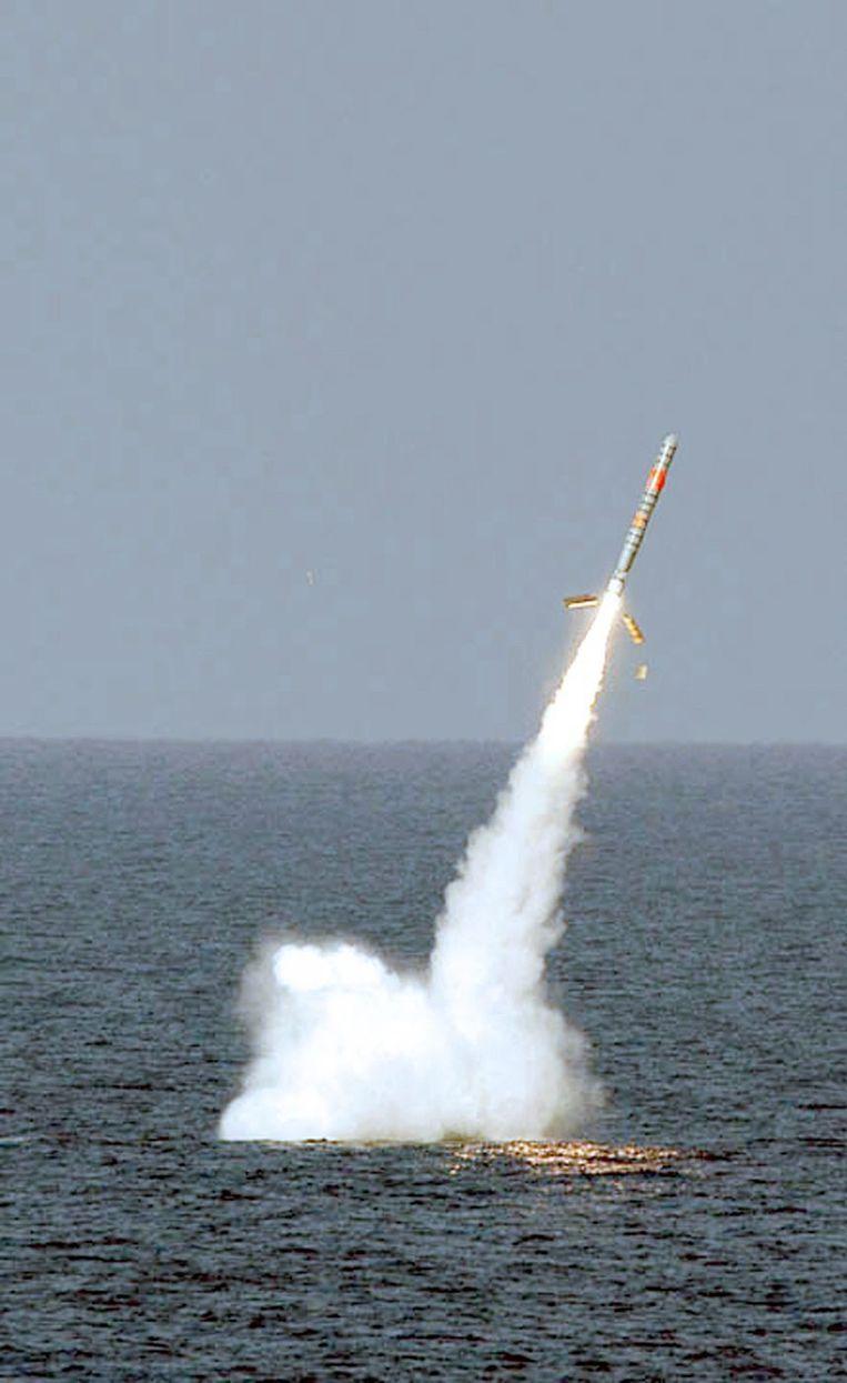 De lancering van een Tomahawk vanaf een Amerikaanse onderzeër. (archieffoto)