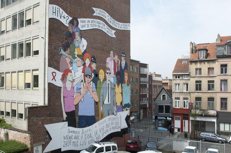 Muurschildering in hoogstraat tegen aids brussel regio hln - Nieuw muurschildering ...