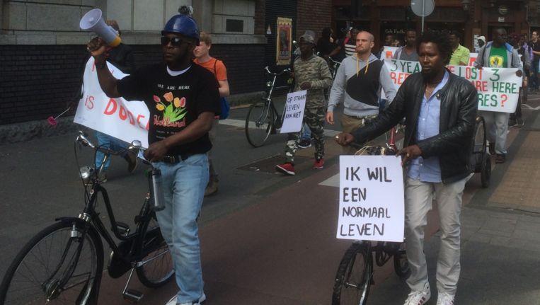 Demonstranten van Wij Zijn Hier. Beeld Jop van Kempen