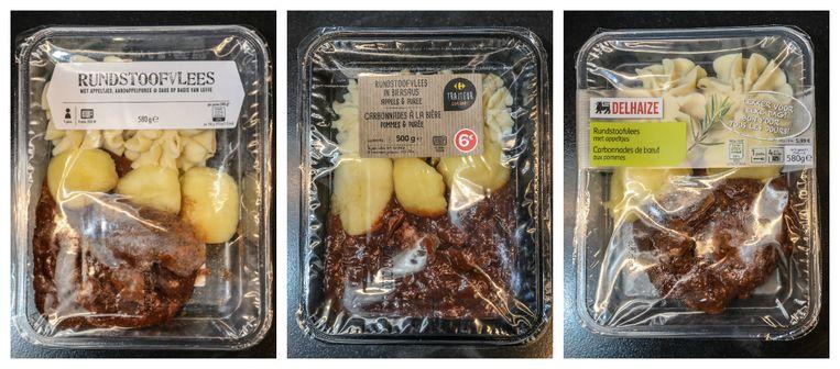 Vlnr: Stoofvlees met appel en aardappelpuree van Albert Heijn, Carrefour, Delhaize