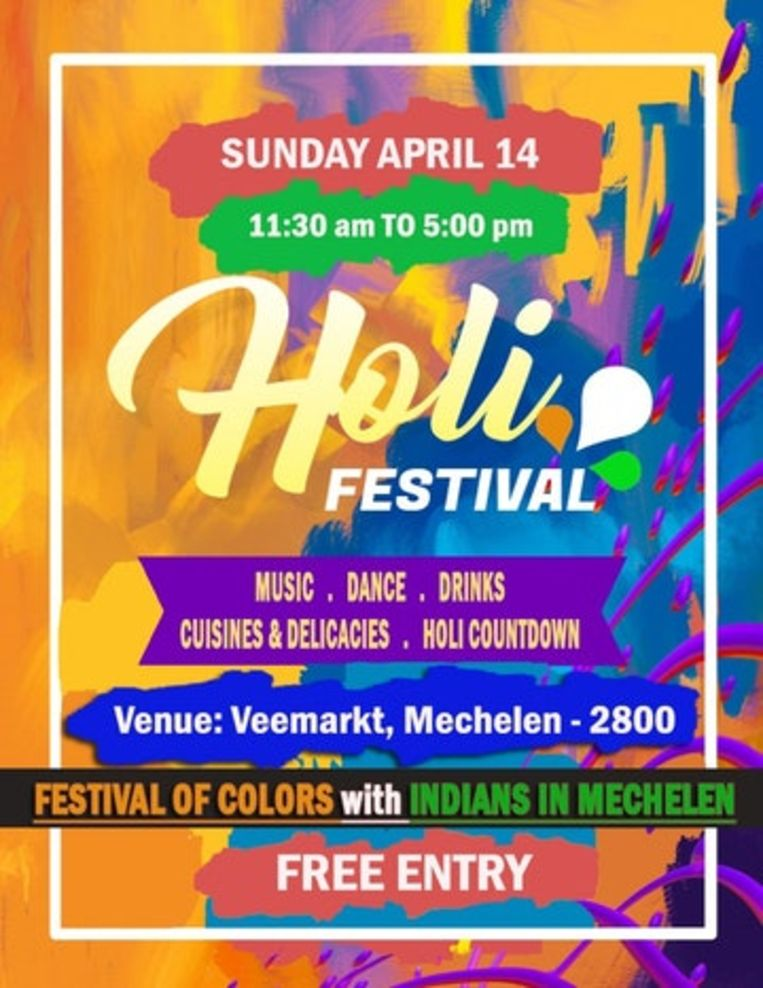 Holi Festival of Colors palmt de Veemarkt in