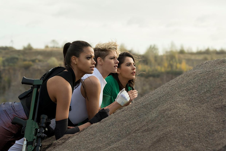 V.l.n.r. Ella Balinska, Kristen Stewart en Naomi Scott in 'Charlie's Angels'.