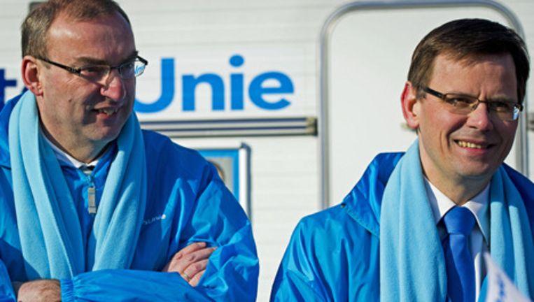 Fractieleider van de ChristenUnie Andre Rouvout en Roel Kuiper, lijsttrekker voor de Eerste Kamer. Foto: anp Beeld