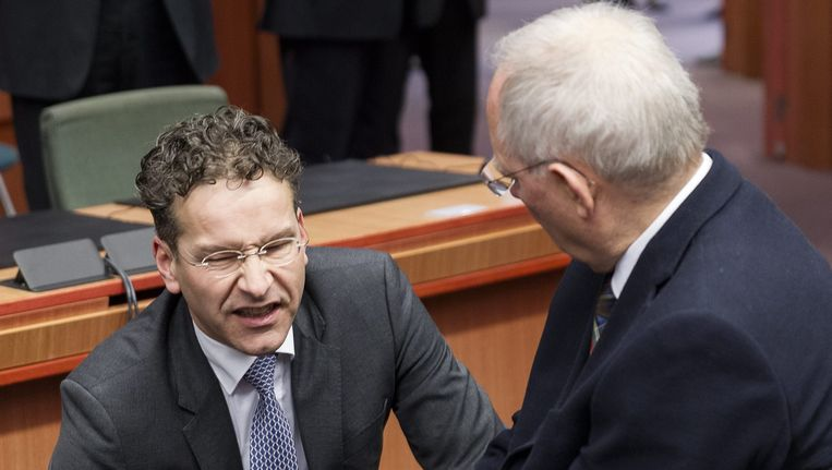 De Nederlandse minister van Financiën Jeroen Dijsselbloem en zijn Duitse ambtsgenoot Schauble.