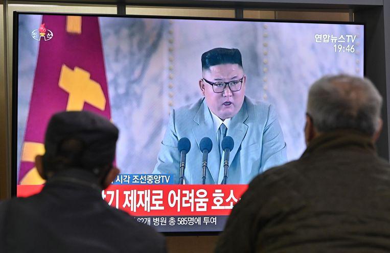 De Noord-Koreaanse leider Kim Jong-un, eerder deze maand, op de staatstelevisie. Beeld AFP