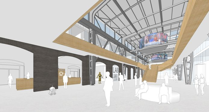De 'beursvloer' van het nieuwe MindLabs-gebouw: open ruimte voor expositie, debat en ontmoeting voor de deelnemende partners.
