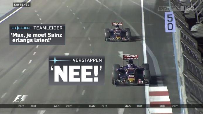 2015: Vechtend om de zevende positie in Singapore werd Max Verstappen verzocht plaats te maken voor teamgenoot Carlos Sainz. ,,NO!'', klonk zijn directe reactie kraakhelder over de radio.