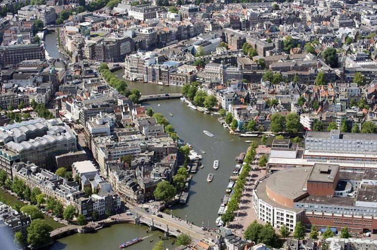Luchtfoto van de grachtengordel, die in 2010 op de wereldergoedlijst is geplaatst. Foto ANP Beeld