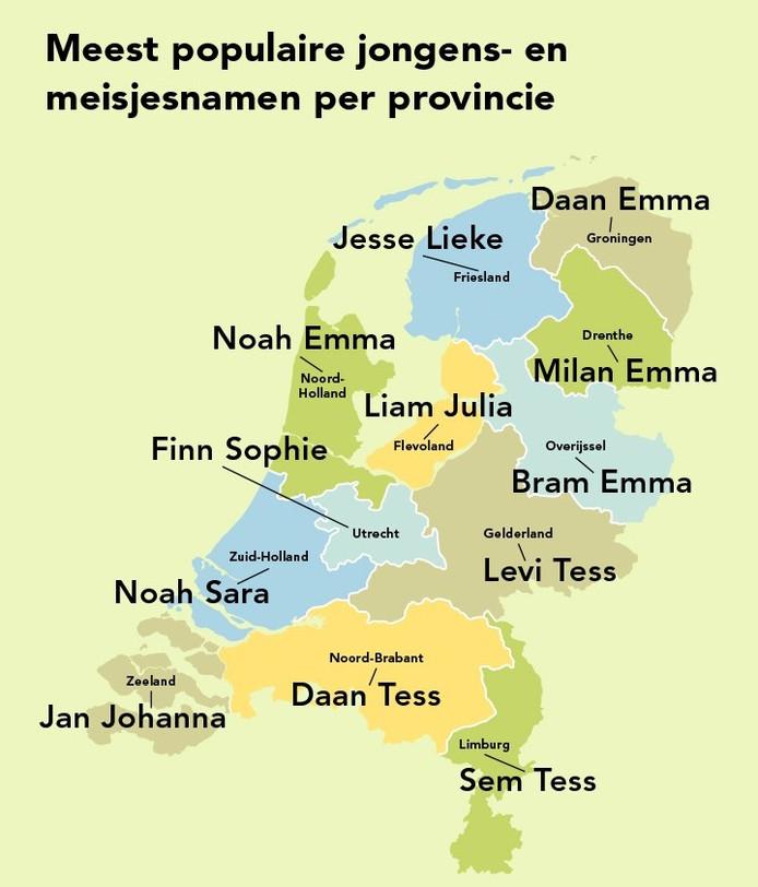 De populairste babynaam per provincie.