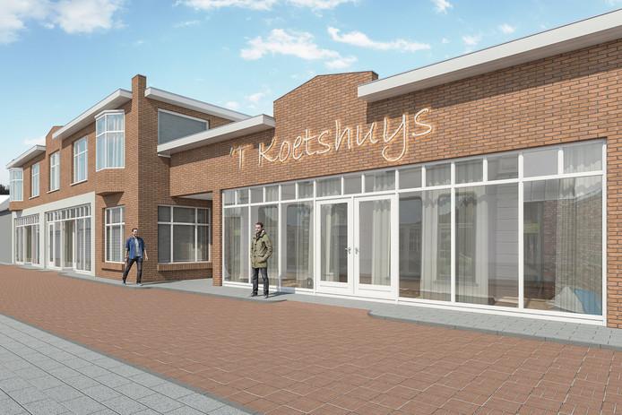 Artist impression van 't Koetshuys met winkelruimte op de begane grond en twee appartementen op de verdieping in het linker gebouw.