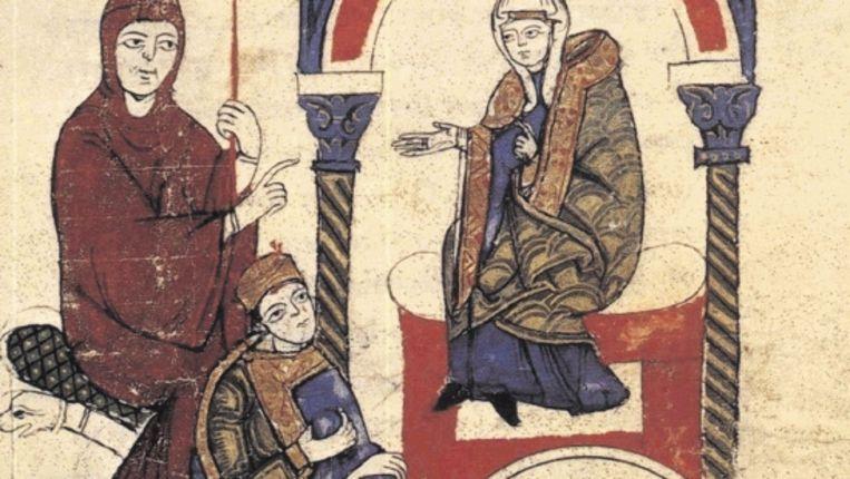 Deze afbeelding van de gang naar Canossa van koning Hendrik IV wordt bewaard in de bibliotheek van het Vaticaan. De schilder is onbekend. (Trouw) Beeld