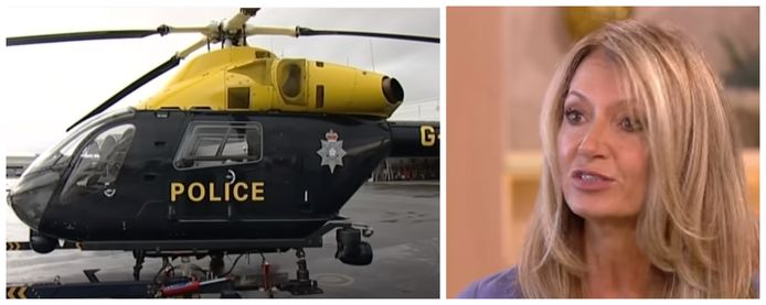 Voormalig model Tracy Dixon (54). Foto links: een helikopter van de South Yorkshire Police.