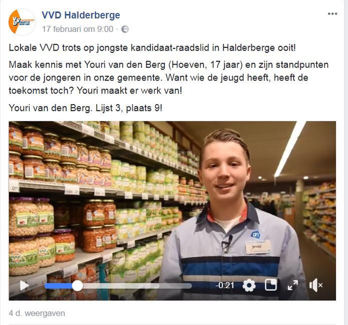 Een filmpje van de VVD Halderberge met vakkenvuller Youri.