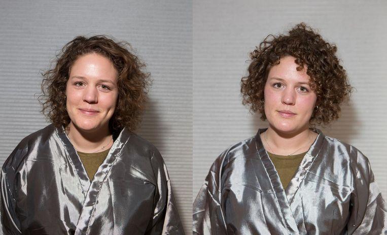 Voor en na een knipbeurt van Irina Silva Fortes. Beeld Najib Nafid