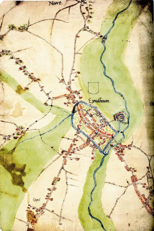 Detail van de plattegrond van Eindhoven van Jacob van Deventer omstreeks 1560.