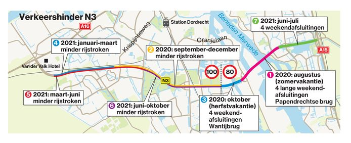 Kaart met planning werkzaamheden N3.