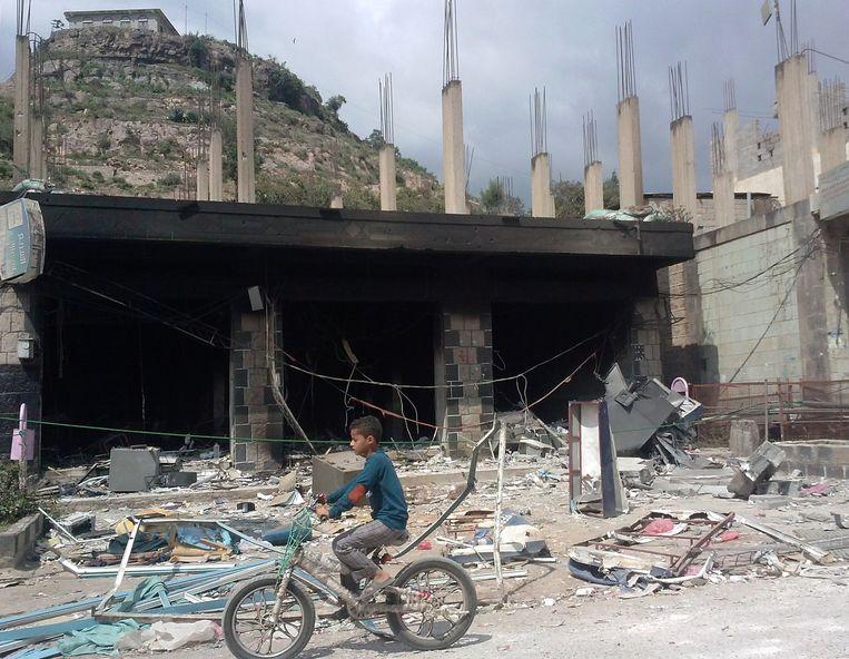 Straatbeeld van Ibb, Jemen. Beeld anp
