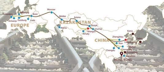 De nieuwe Zijderoute loopt van Chongqing in China naar de Duitse stad Duisburg.
