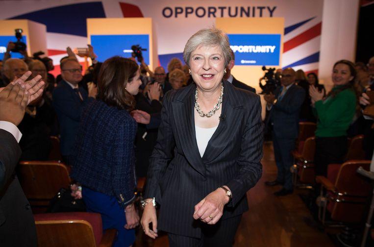 Theresa May, woensdag in Birmingham.