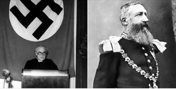 Collaborateur Cyriel Verschaeve en koning Leopold II.