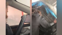 Vrouw gaat door de carwash, maar vergeet kapotte ruit