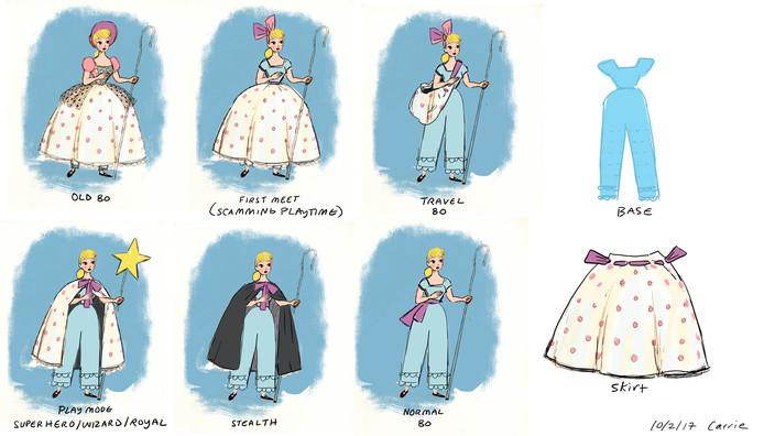 Bo Peep a vu sa garde-robe transformée en devenant un jouet perdu. Zoom sur les croquis que Pixar a bien voulu nous montrer.
