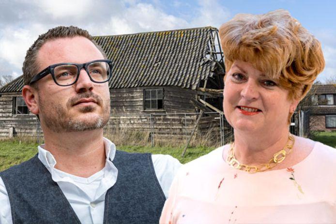 Robbert Lievense (LSD) en Marleen van Kooten (CDA). Achtergrond: De eeuwenoude Napoleonschuur in Scharendijke.