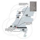 De stikstof vanuit Moerdijk verspreidt zich over heel het land, maar daarbij gaat het wel om kleine beetjes: van 14 gram per hectare per jaar vlakbij tot veel minder dan 1 gram in het noorden van het land.