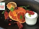 Kweeperen tarte tatin met bloedsinaasappelparfait