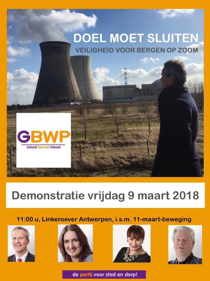 Een delegatie van de Bergse partij GBWP doet vrijdag in Antwerpen mee aan een demonstratie van de Belgische 11 maart-beweging tegen de kerncentrale in Doel.