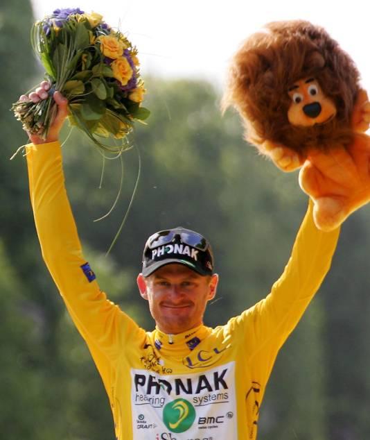 Floyd Landis in 2006 als 'winnaar' van de Tour.