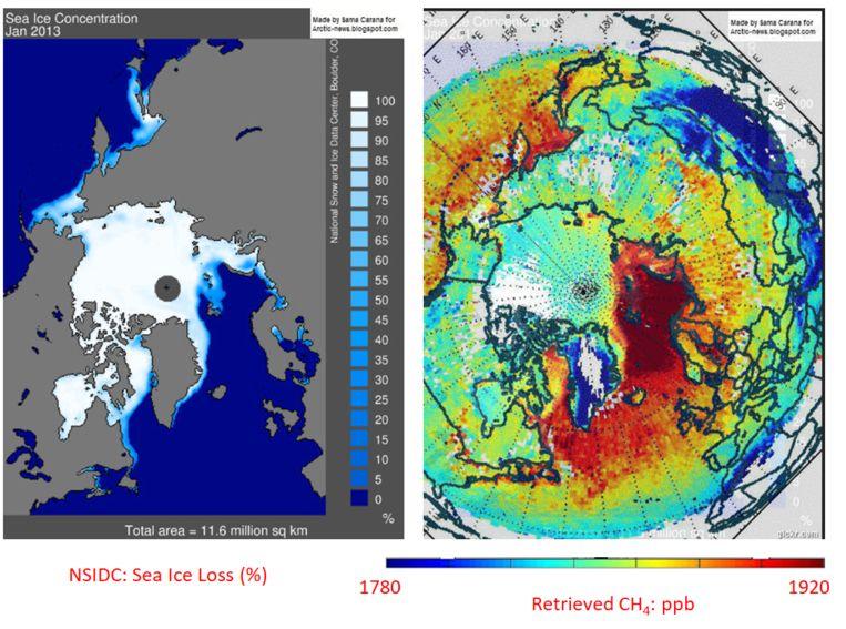 Methaanconcentratie lijkt ineens omhoog te gaan bij de overgang van ijs naar zee, maar klopt dat wel? Beeld NOAA NESDIS