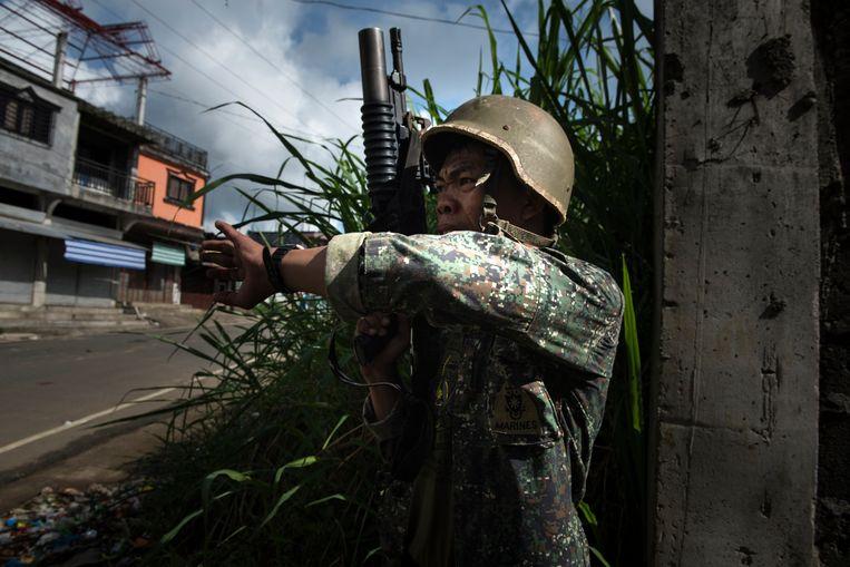 De regeringstroepen van Duterte in Marawi City.