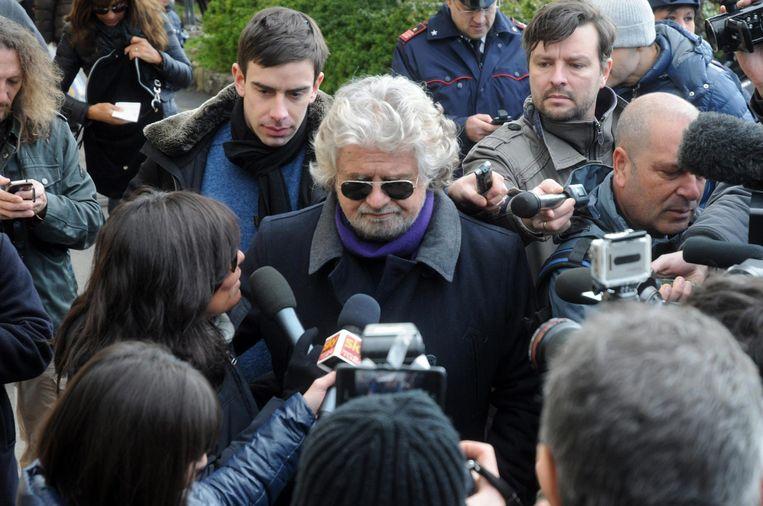 Vanuit het niets naar een kwart van de stemmen: komiek Beppe Grillo. Beeld EPA