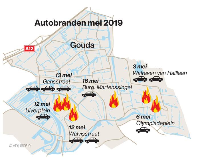 De reeks autobranden begon in de eerste week van mei, aan de Walraven van Halllaan in Gouda.