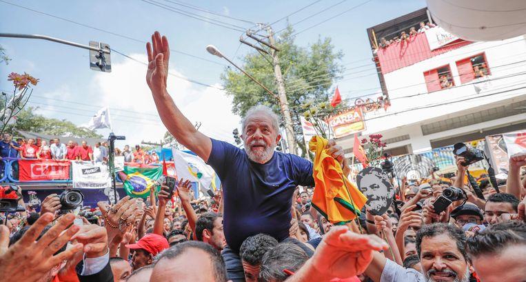 Braziliaanse oud-president Luiz Inacio 'Lula' da Silva, 7 april. Beeld