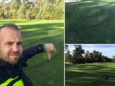 'Malloot' scheurt in auto rondjes over de golfbaan in Ommen en laat diepe sporen achter bij de golfclub
