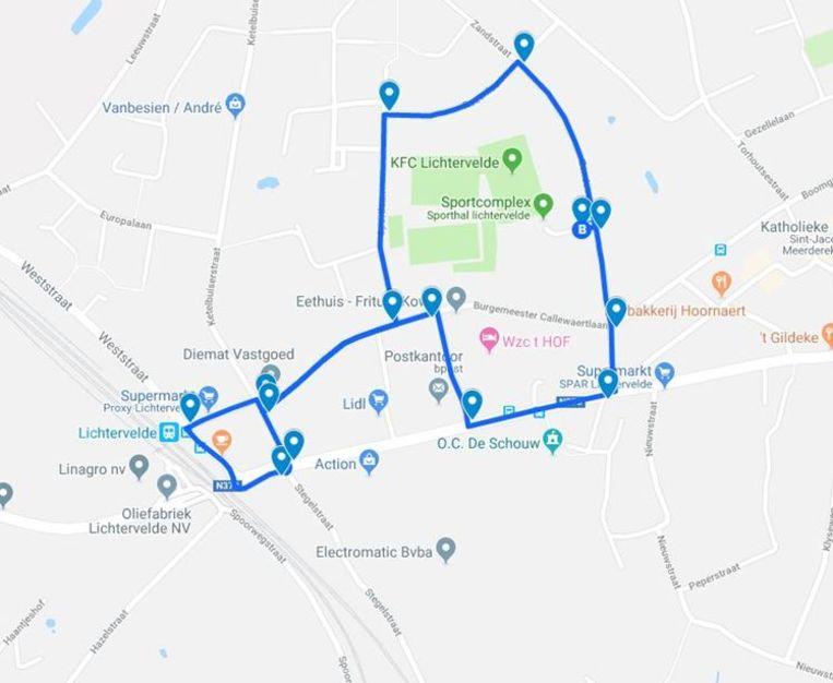 De route van het fietsexamen is ook te raadplegen op www.lichtervelde.be/fietsexamenroute.