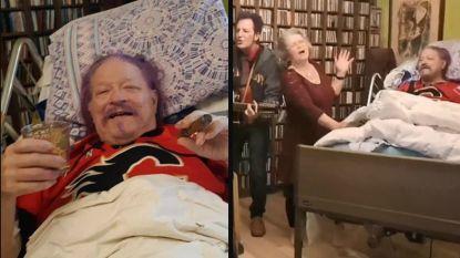 Whisky, sigaren en prachtige serenade van zijn vrouw: Dan geeft onvergetelijk feestje voor zijn dood