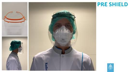 De nieuwe gezichtsbeschermer voor zorgpersoneel.