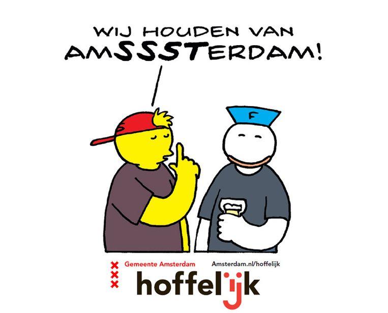De gemeente Amsterdam startte woensdag een actie met bierviltjes om het geluidsoverlast van uitgaanspubliek tegen te gaan. Beeld Gemeente Amsterdam