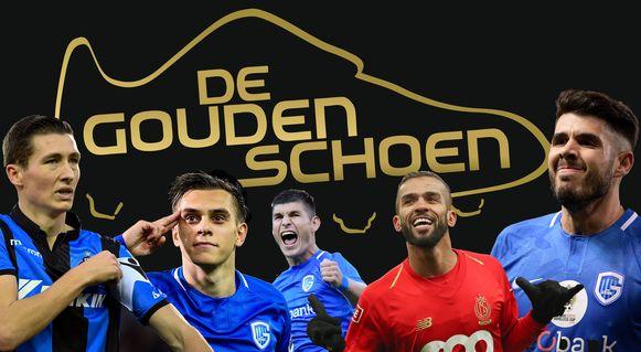 De vijf topkandidaten voor de Gouden Schoen 2018.