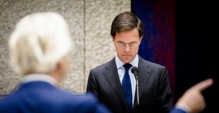Premier Rutte tegenover PVV-leider Wilders. Beeld anp