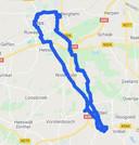 De route van de marathon, met de start en finish in Oss.